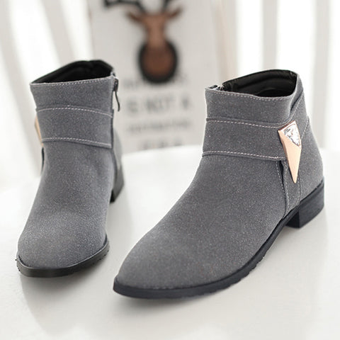 Suede Pure Color Pointed Toe Low Block Heel Side Zipper Ankle Boots 42 Gray