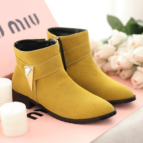 Suede Pure Color Pointed Toe Low Block Heel Side Zipper Ankle Boots 42 Yellow