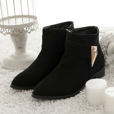 Suede Pure Color Pointed Toe Low Block Heel Side Zipper Ankle Boots 42 Black