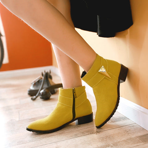Suede Pure Color Pointed Toe Low Block Heel Side Zipper Ankle Boots 43 Yellow