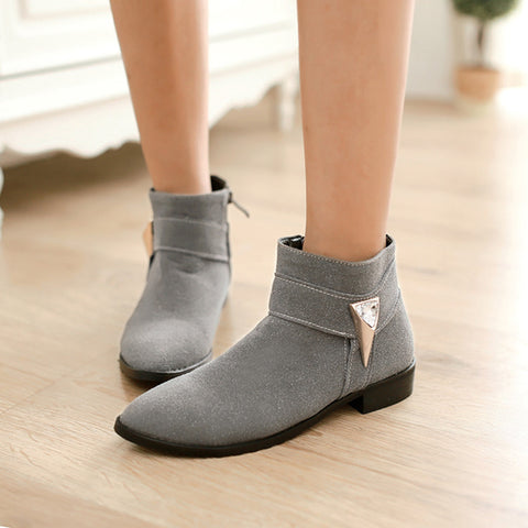 Suede Pure Color Pointed Toe Low Block Heel Side Zipper Ankle Boots 41 Gray