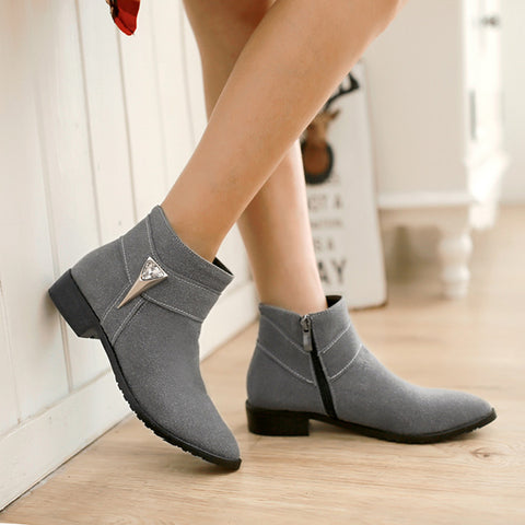 Suede Pure Color Pointed Toe Low Block Heel Side Zipper Ankle Boots 43 Gray