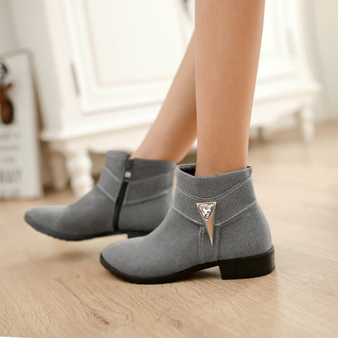 Suede Pure Color Pointed Toe Low Block Heel Side Zipper Ankle Boots 40 Gray