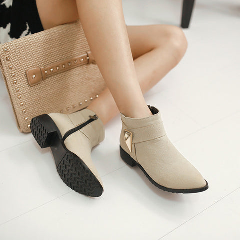 Suede Pure Color Pointed Toe Low Block Heel Side Zipper Ankle Boots 41 Beige