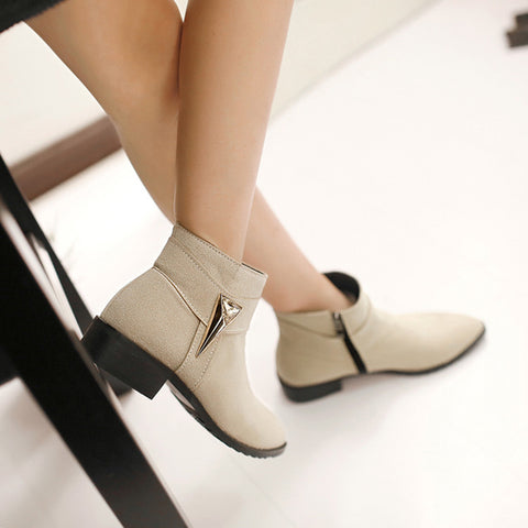 Suede Pure Color Pointed Toe Low Block Heel Side Zipper Ankle Boots 40 Beige
