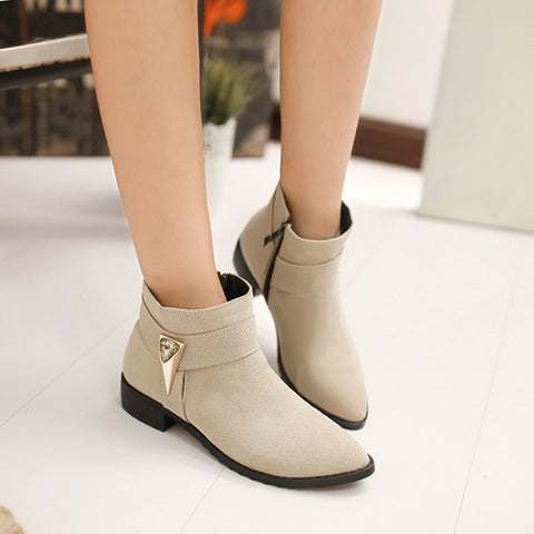 Suede Pure Color Pointed Toe Low Block Heel Side Zipper Ankle Boots 43 Beige