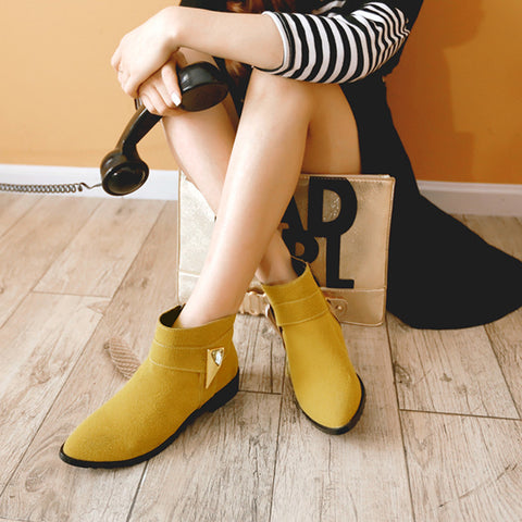 Suede Pure Color Pointed Toe Low Block Heel Side Zipper Ankle Boots 41 Yellow