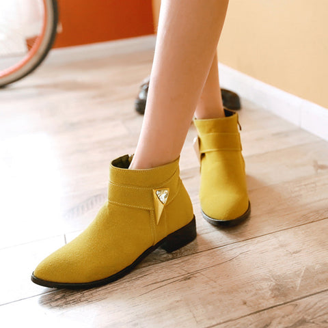 Suede Pure Color Pointed Toe Low Block Heel Side Zipper Ankle Boots 40 Yellow