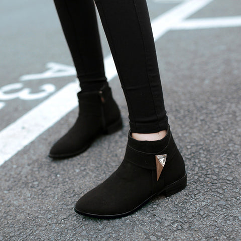 Suede Pure Color Pointed Toe Low Block Heel Side Zipper Ankle Boots 40 Black