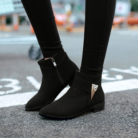 Suede Pure Color Pointed Toe Low Block Heel Side Zipper Ankle Boots 41 Black