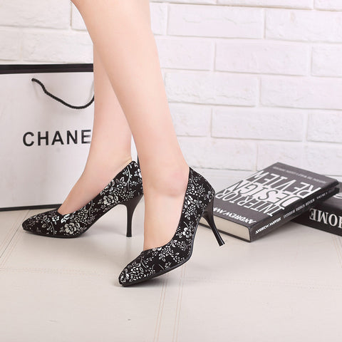 Suede Pure Color Pointed Toe Stiletto Heel Floral Pumps 9 Silver