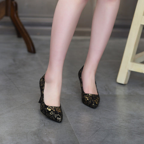Suede Pure Color Pointed Toe Stiletto Heel Floral Pumps 9.5 Gold