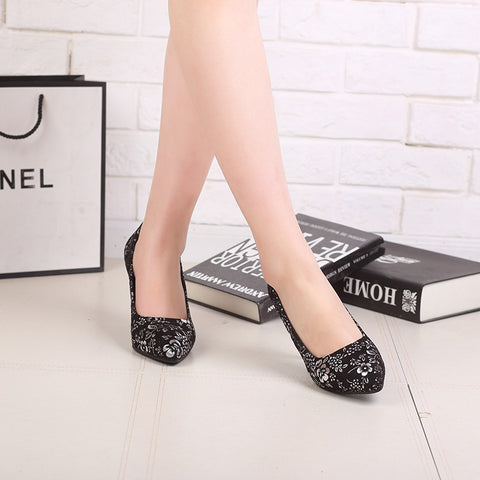 Suede Pure Color Pointed Toe Stiletto Heel Floral Pumps 9.5 Silver