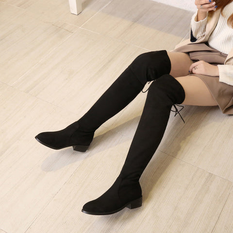 Suede Pure Color Pointy Toe Block Heel Lace Up Over Knee High Boots 9 Black