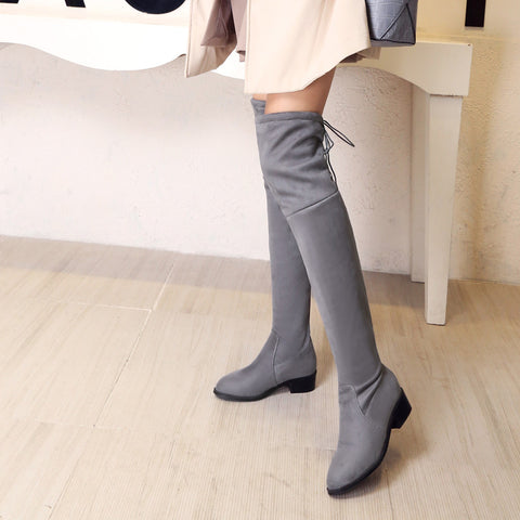 Suede Pure Color Pointy Toe Block Heel Lace Up Over Knee High Boots 9 Grey