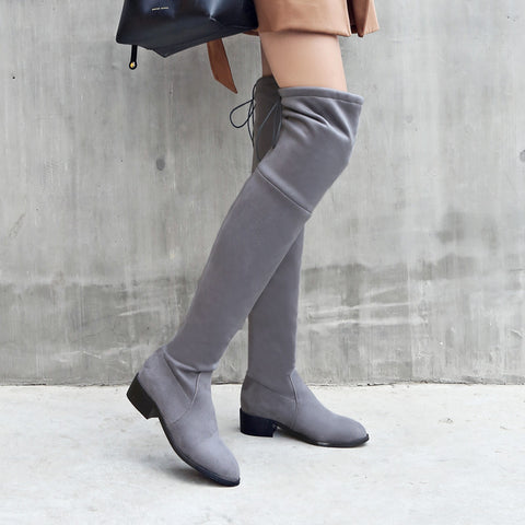 Suede Pure Color Pointy Toe Block Heel Lace Up Over Knee High Boots 8.5 Grey