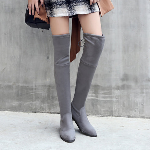 Suede Pure Color Pointy Toe Block Heel Lace Up Over Knee High Boots 9.5 Grey