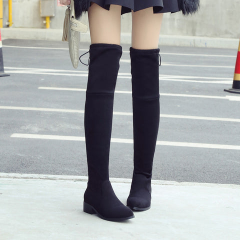 Suede Pure Color Pointy Toe Block Heel Lace Up Over Knee High Boots 8.5 Black