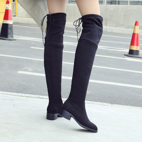 Suede Pure Color Pointy Toe Block Heel Lace Up Over Knee High Boots 9.5 Black