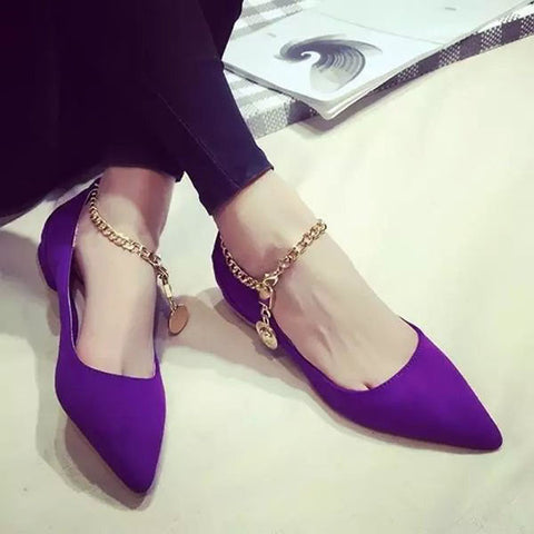 Suede Pure Color Pointy Toe Flat Heel Metal Buckle Chain With Pendant Loafers 7.5 Purple