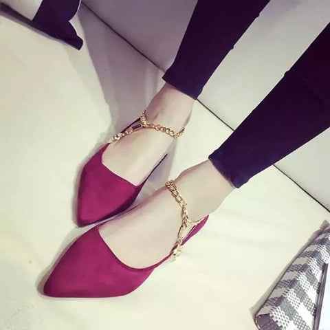 Suede Pure Color Pointy Toe Flat Heel Metal Buckle Chain With Pendant Loafers 8 Red