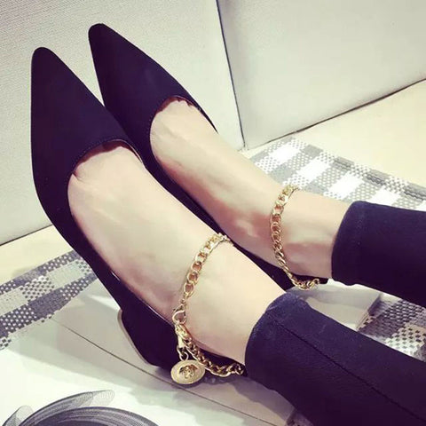 Suede Pure Color Pointy Toe Flat Heel Metal Buckle Chain With Pendant Loafers 8 Black