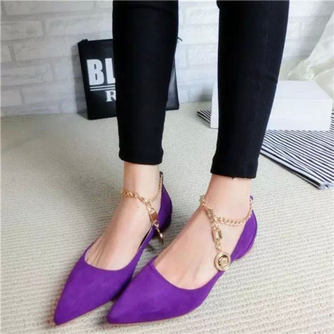 Suede Pure Color Pointy Toe Flat Heel Metal Buckle Chain With Pendant Loafers 8 Purple