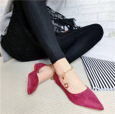 Suede Pure Color Pointy Toe Flat Heel Metal Buckle Chain With Pendant Loafers 7.5 Red