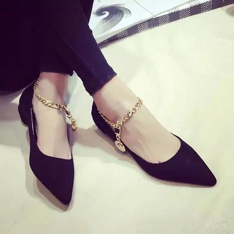 Suede Pure Color Pointy Toe Flat Heel Metal Buckle Chain With Pendant Loafers 7.5 Black