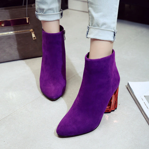 Suede Pure Color Pointy Toe Metal High Block Heel Side Zipper Ankle Boots 7 Purple