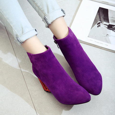 Suede Pure Color Pointy Toe Metal High Block Heel Side Zipper Ankle Boots 7.5 Purple