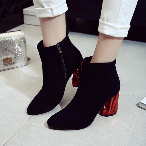Suede Pure Color Pointy Toe Metal High Block Heel Side Zipper Ankle Boots 7 Black