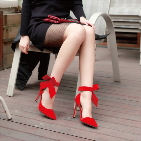 Suede Pointy Toe Stiletto Heel Ankle Strap Velcro Bowtie Sandals 9.5 Red