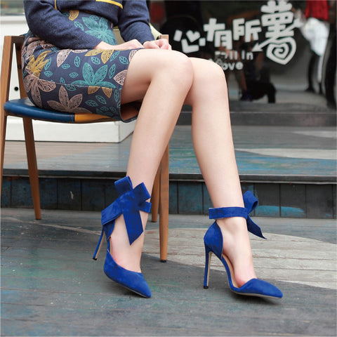 Suede Pointy Toe Stiletto Heel Ankle Strap Velcro Bowtie Sandals 9.5 Blue