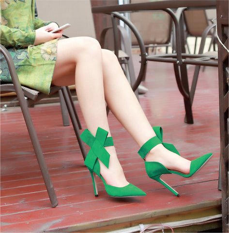 Suede Pointy Toe Stiletto Heel Ankle Strap Velcro Bowtie Sandals 9.5 Green