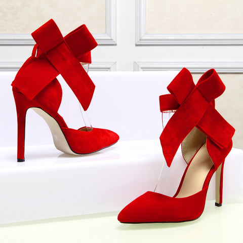 Suede Pointy Toe Stiletto Heel Ankle Strap Velcro Bowtie Sandals 9 Red