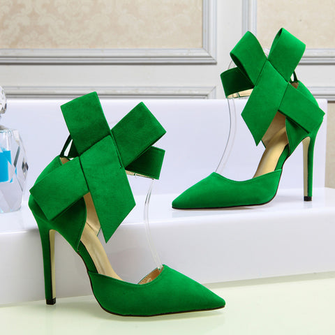 Suede Pointy Toe Stiletto Heel Ankle Strap Velcro Bowtie Sandals 9 Green