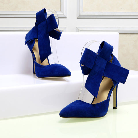Suede Pointy Toe Stiletto Heel Ankle Strap Velcro Bowtie Sandals 9 Blue