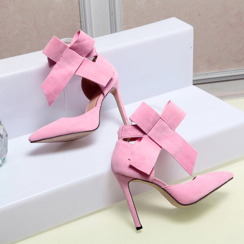Suede Pointy Toe Stiletto Heel Ankle Strap Velcro Bowtie Sandals 9 Pink
