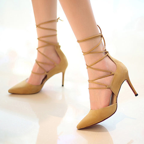 Suede Pure Color Pointy Toe Stiletto Heel Cross Strap Sandals 7 Yellow