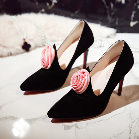 Suede Pure Color Pointy Toe Stiletto Heel Flower Pumps 6.5 Black