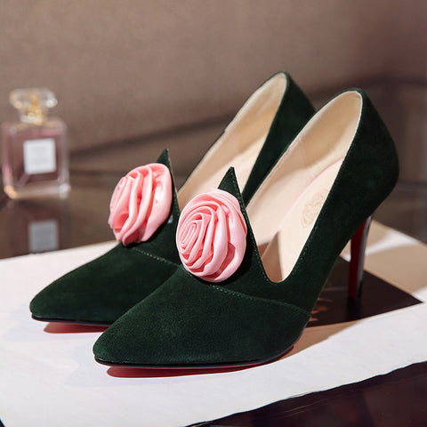 Suede Pure Color Pointy Toe Stiletto Heel Flower Pumps 6.5 Green