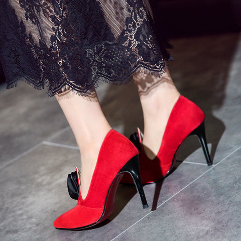 Suede Pure Color Pointy Toe Stiletto Heel Flower Pumps 7.5 Red