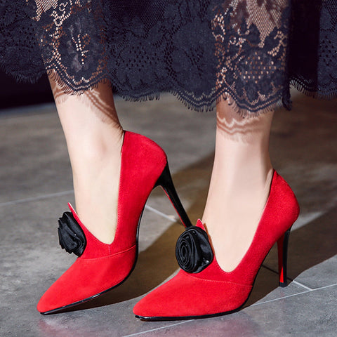 Suede Pure Color Pointy Toe Stiletto Heel Flower Pumps 7 Red