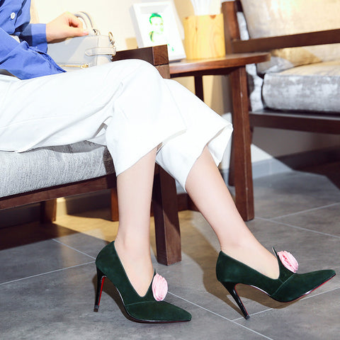 Suede Pure Color Pointy Toe Stiletto Heel Flower Pumps 7 Green