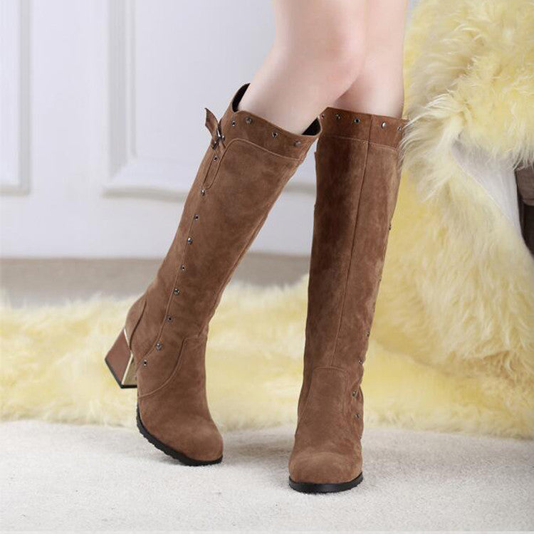 Suede Pure Color Round Toe Middle Block Heel Knee High Boots 8.5 Brown
