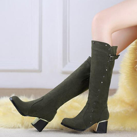 Suede Pure Color Round Toe Middle Block Heel Knee High Boots 9 Dark green
