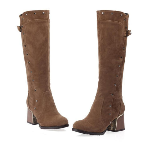 Suede Pure Color Round Toe Middle Block Heel Knee High Boots 9.5 Brown