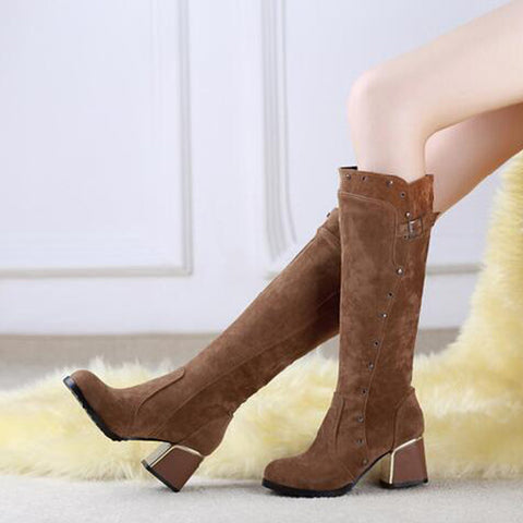 Suede Pure Color Round Toe Middle Block Heel Knee High Boots 9 Brown