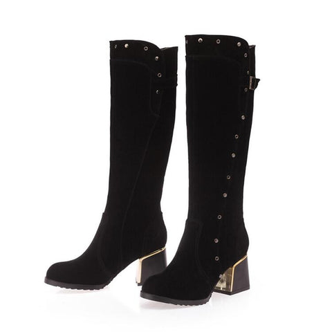 Suede Pure Color Round Toe Middle Block Heel Knee High Boots 9.5 Black